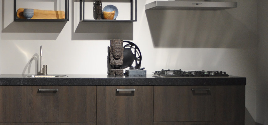 Keukenfront met houtmotief